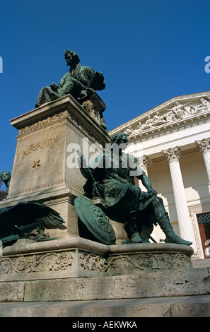 National Museum, Budapest, Hungary. Arany statue in foreground - Stock Photo
