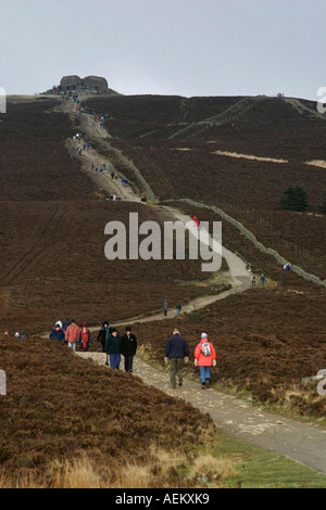 Walking Moel Fammau near Mold Flintshire North East Wales - Stock Photo