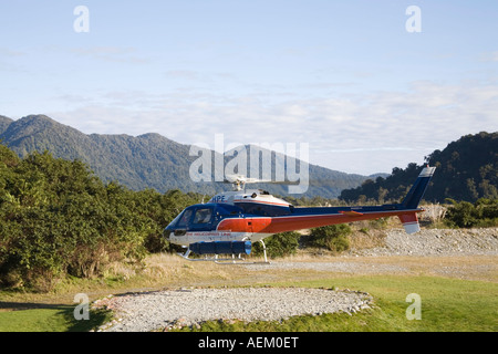 FRANZ JOSEF WEST COAST SOUTH ISLAND NEW ZEALAND May One of the helicopters taking off with a full load of passengers - Stock Photo
