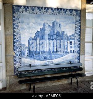 Azulejo depicting the Se Velha Coimbra cathedral, Granja railway station, Aveiro, Portugal, Europe, - Stock Photo