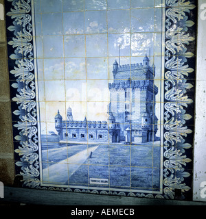 Azulejo depicting Belem tower in Lisbon, Granja railway station, Aveiro, Portugal, Europe, - Stock Photo