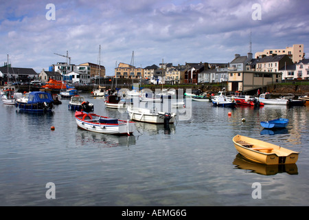 boats moored in Portrush harbour, County Antrim, Northern Ireland - Stock Photo