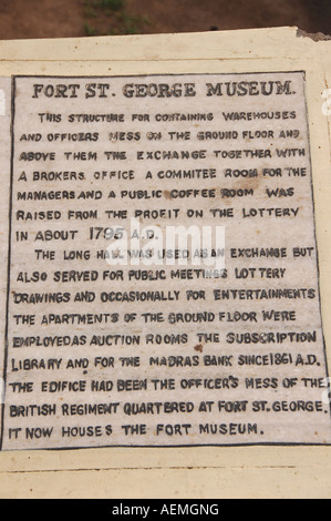 Information board at the Fort St George Museum in Chennai, India - Stock Photo