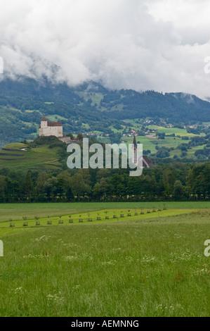 Castle in small town Balzers in principality of Liechtenstein. - Stock Photo