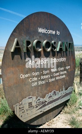 entrance to arcosanti experimental town in the desert mayer arizona usa - Stock Photo