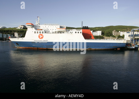 Isle of Man Steam Packet company ship Ben My Chree berthed in Douglas harbour Isle of Man IOM - Stock Photo