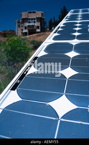 solar panels at arcosanti experimental town in the desert mayer arizona usa - Stock Photo