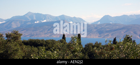 A view of the Albanian coast and hills from the slopes of Mount Pantokrator Corfu - Stock Photo