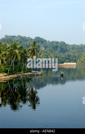 River in Trivandrum Thiruvananthapuram Kerala India - Stock Photo