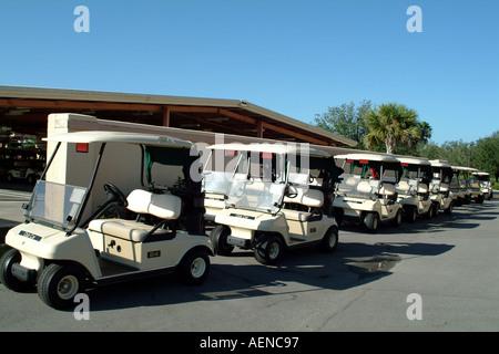 Bonita Springs fl Florida USA Golf carts at the Highland Woods Golf and Country Club - Stock Photo