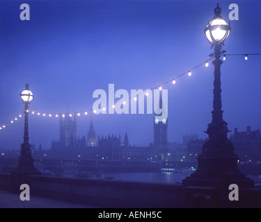 GB - LONDON: Westminster seen from South Bank by night - Stock Photo