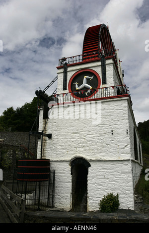 great victorian water pump laxey wheel lady isabella from lead mines laxey isle of man iom - Stock Photo