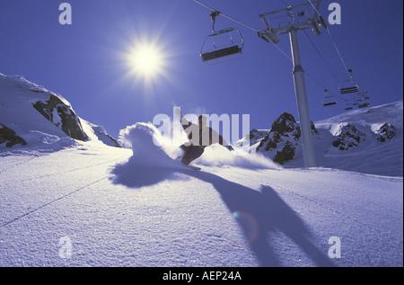 Archival photo (Circa 1986) of early snowboarding. Chamonix, France. - Stock Photo