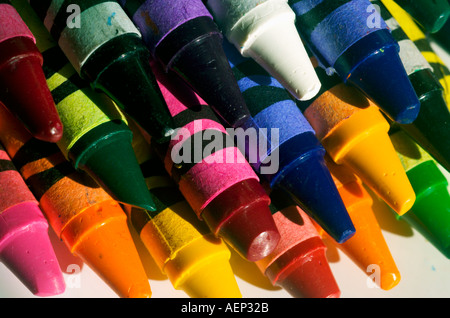assorted crayons colors colours - Stock Photo