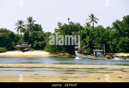 India Goa Betul fishing boats on the river - Stock Photo