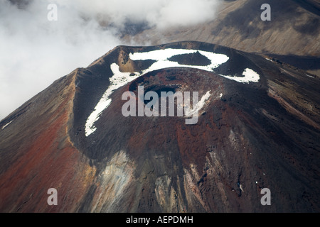 Crater and secondary cone of Mount Ngauruhoe from the air, Tongariro National Park, New Zealand - Stock Photo