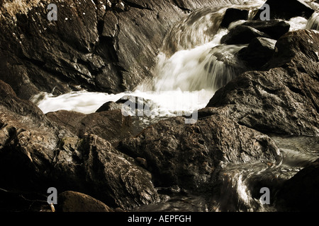 Waterfall in Ring of Kerry County Kerry Eire Republic of Ireland Europe - Stock Photo