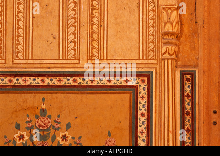 Detail of decoration in Madhavendra Bhawan, Nahargarh Fort, near Jaipur, Ragasthan, India - Stock Photo