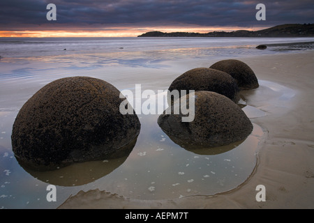 Moeraki Boulders on the Otago coastline, New Zealand - Stock Photo