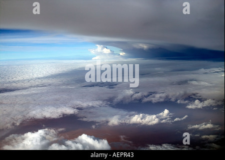 Storm clouds over East Africa seen from a passenger aircraft - Stock Photo