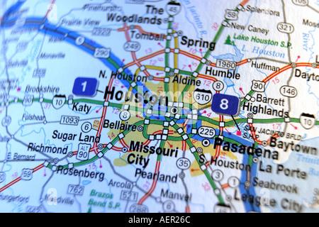 Close up map of Houston Texas USA Stock Photo Royalty Free Image