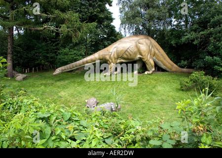 Dinosaur Statue in Hagenbeck Zoological Garden, Hamburg Germany - Stock Photo