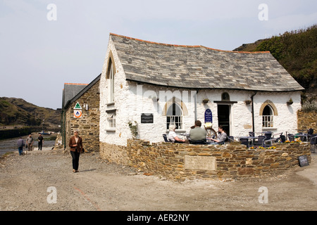 UK Cornwall Boscastle Harbour Town the Harbour Light tea room after reconstruction - Stock Photo
