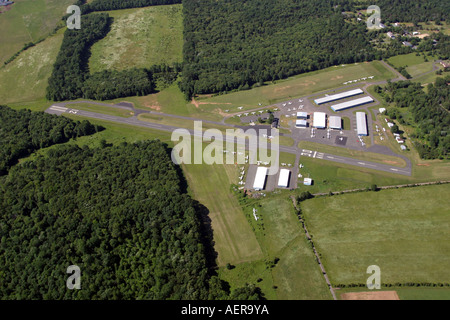 Aerial view of Somerset Airport, located in Bedminster, New Jersey, U.S.A. - Stock Photo