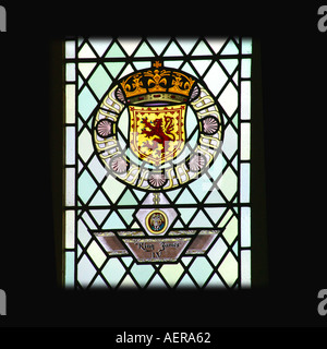 Stirling Castle Scotland King James IV coat of arms in great hall - Stock Photo
