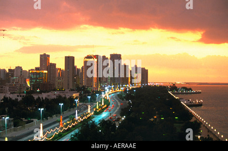 skyline of city of abu dhabi emirate of abu dhabi united arab emirates uae - Stock Photo