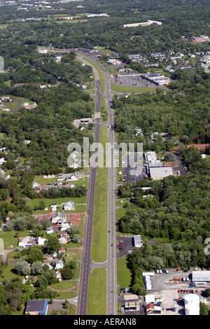 Aerial view of Rt. 22 in Whitehouse Station, New Jersey, U.S.A. - Stock Photo