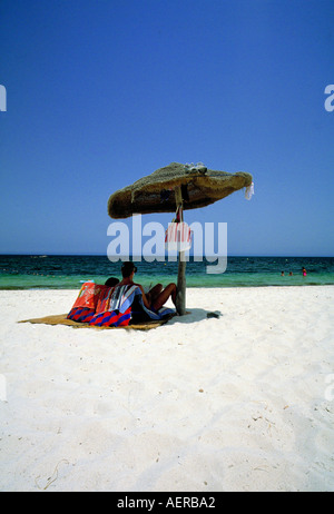 couple at beach tunisia - Stock Photo