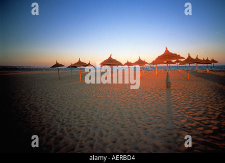 beach at evening near city of hammamet tunisia - Stock Photo