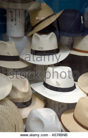 Panama Hats in Jermyn Street in London The Shirt makers street in London - Stock Photo
