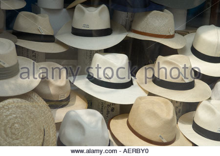 Panama Hats in Jermyn Street in London - Stock Photo