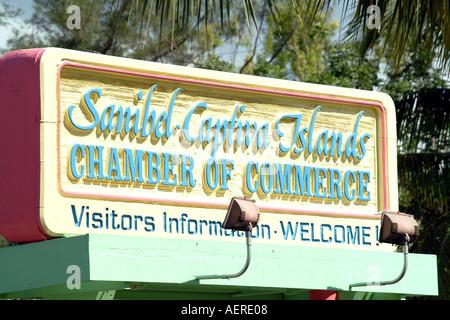 Sanibel and Captiva Islands Chamber of Commerce sign Florida fl USA - Stock Photo