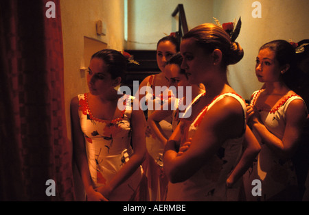 flamenco dancers waiting to go on stage - Stock Photo