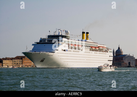 Costa Classica cruise liner arriving in the Canale della Giudecca Venice Italy - Stock Photo