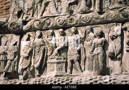 Carved stone decoration on the triumphal Roman arch of Emperor Galerius Thessaloniki Greece - Stock Photo