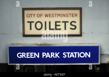 Toilets sign at Green Park tube station on the London underground network, London, UK - Stock Photo
