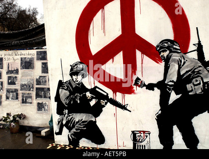 War protest art banners and poster displayed outside Westminster in London - Stock Photo