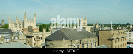 Panoramic view of the west side of central Cambridge, England - Stock Photo