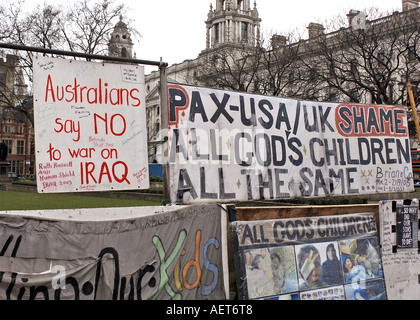 Antiwar protest in Parliament Square, opposite the Westminter Parliament buildings, London, UK - Stock Photo