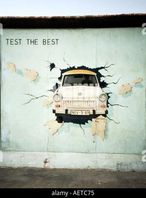 Trabant Mural Berlin Wall East Side Gallery, art gallery, Berlin, Germany, Europe - Stock Photo