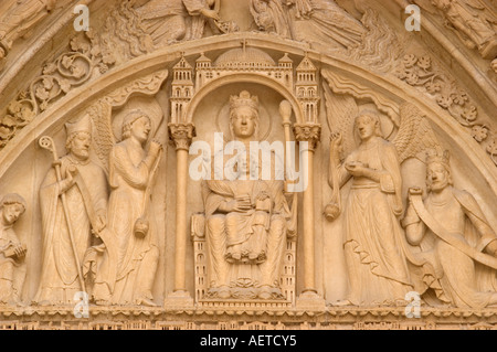 Paris, France. Notre Dame Cathedral. Detail of carved figures in the portal of the right door or Porte de St Anne - Stock Photo