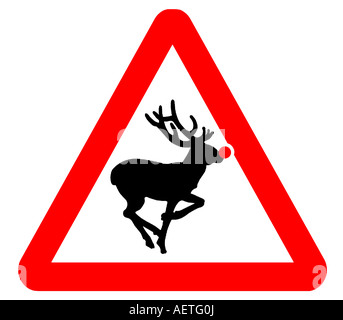 Rudolph the red nosed reindeer sign - Stock Photo