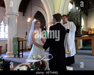 Christian Wedding Service With Couple Exchanging Rings Anglican Stock Photo Royalty Free Image