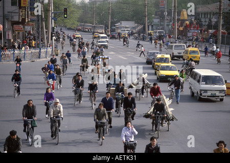 Beijing China Dongsi Bei Street traffic bicycle society - Stock Photo