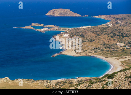 Aerial view of east coast of Karpathos near Lefkos Karpathos Dodecanese islands Greece Mediterranean Europe - Stock Photo