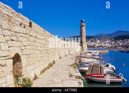 View of old Venetian Rethymo s lighthouse wall and harbours Rethymno Rethymnon island of Crete Greece Mediterraneann - Stock Photo